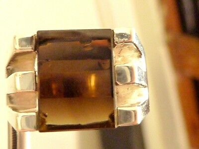 Vintage  Sterling silver SMOKEY quartz sz 9.5amazing Ring  new OLD STOCK