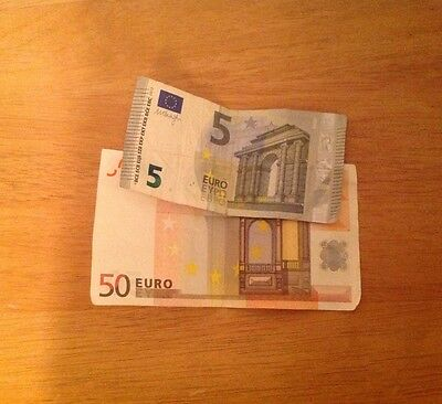 55 Euros Bank Notes Left Over Holiday Money Currency