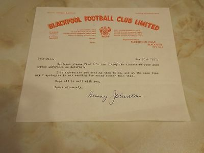 Blackpool Official Letter 1971 Signed By Harry Harry Johnston