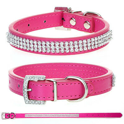 Rose Pink Rhinestone Crystal Bling Puppy Dog Cat Pet Collar PU Leather Tags S