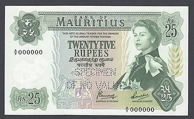 Mauritius 25 Rupees ND(1967) P32s Specimen Perforated Uncirculated