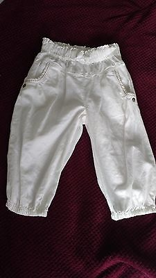 Girl's NEXT White Summer Cotton 3/4 Trousers, Cropped, Age 2-3 years