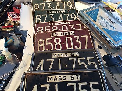 Lot Of 6 Vintage Mass License Plates Pair From 1957 -59-66