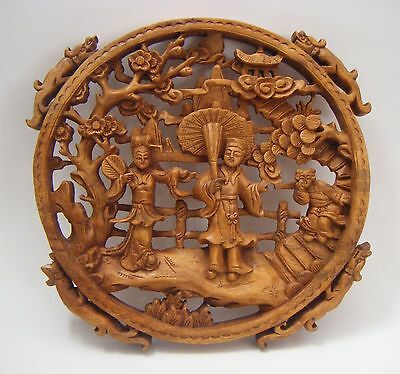 """Well-Carved Chinese Round Wood Figural Wall Panel Plaque~Dragon Handles ~12"""""""