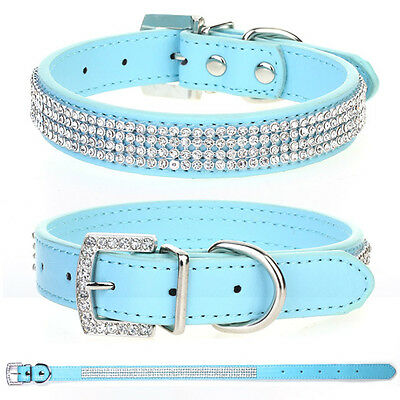 Light Blue Rhinestone Crystal Bling Puppy Dog Cat Pet Collar PU Leather Tags S