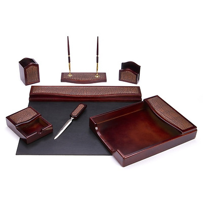 7-piece Burgundy and Brown Eco-Friendly Leather Oak Desk Set Pad, Tray Pen Stand