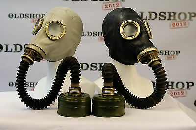 SET of BLACK & GREY SOVIET RUSSIAN Gas Masks GP-5 with filters with black hoses