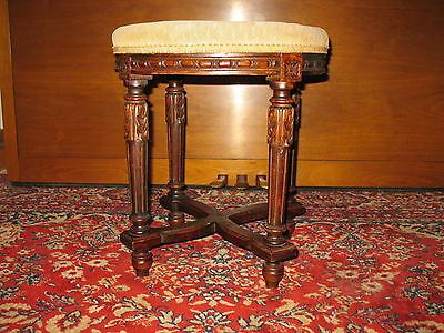 Antique Neoclassical Carved Wood Piano / Bench Stool Needlepoint Cover Cir 1800s