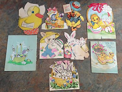 Vtg Easter Card Greeting 9 Animals Bunny Chick Duck Lamb JC11
