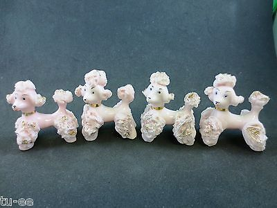 Lot of Four 1950s Pink Spaghetti Poodle Puppies With Loops for Chains