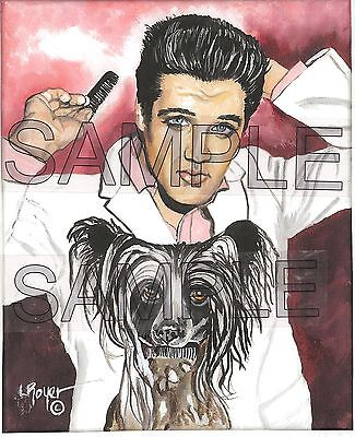 Elvis Chinese Crested Art Print #635 By L Royer 8X10 Numbered Signed Certificate