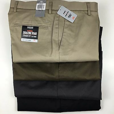 Dockers Levi's Signature Khaki Straight Fit Flat Front D2 Trousers/pants Genuine