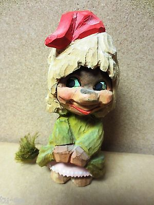 Henning Norway Hand Carved Wood Smiling Girl Troll Showing Her Petticoat Vintage