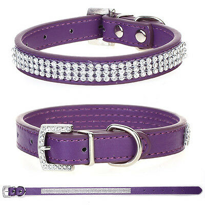 Purple Rhinestone/Diamante Crystal Bling Puppy Dog Pet Collar PU Leather Tags S