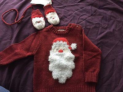 Baby Santas Lighting Jumper and Mittens 3 Months