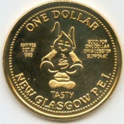 1985 New Glasgow Prince Edward Island Trade Token Tasty the Lobster GOLD PLATE