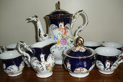 Bimoge China Tea or Coffee Set Cobalt Blue and White with Gold Trim