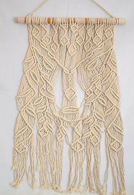 Macrame cotton Boho wall hanging home decor off white, made in Bali