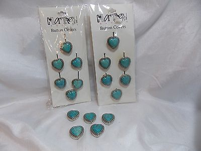 Lot of Silvertone metal Turquoise Button Covers