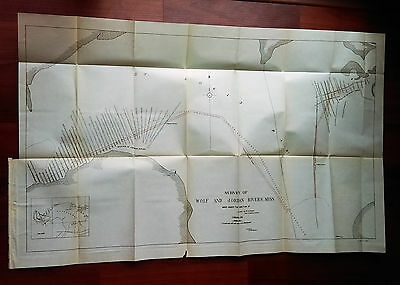 1906 Survey Map of Wolf and Jordan Rivers Mississippi Capt. Jas Cavanaugh
