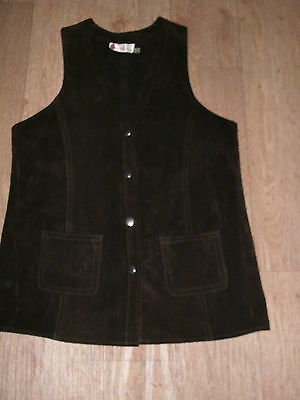 "VINTAGE SUEDE WAISTCOAT by BRAYS OF GLASTONBURY size 38"" CHOC BROWN 29"" LONG"