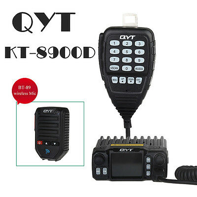 QYT KT-8900D Dual Band VHF UHF Car Mobile Radio Transceiver+Wireless Microphone