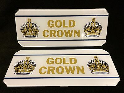Very Rare Nos Gold Crown Gasoline Pump Glass Lens Sign Inserts Gas Mint Wow