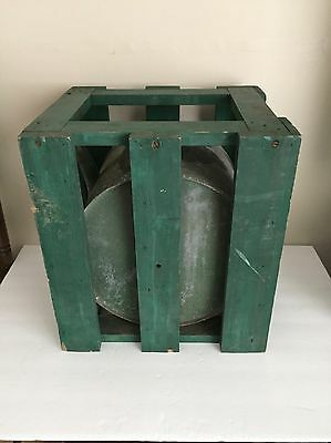 Vintage Rocker Oil Can in Green Wood Crate : Sinclair : John Deere : Garage