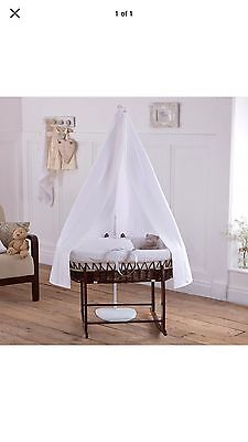 New Clair De Lune White Waffle Dark Wicker Moses Basket With Stand & Drape Set