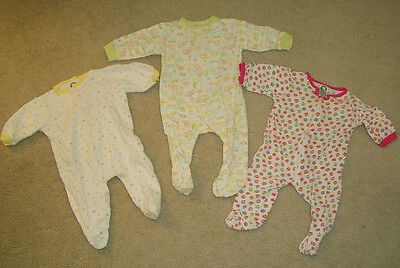 Baby Girl Clothes 3 Gerber Sleeper Cup Cake Zoo & Shapes 3-6 months Smoke Free