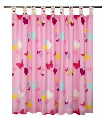 """☆Girls Pink Butterfly/ Hearts♡ TabTop/Fully Lined Curtains 66""""x54""""D Gr8 Bedroom☆"""