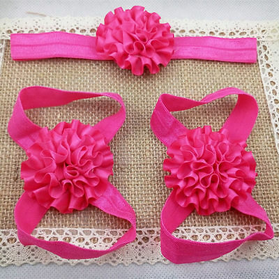 3pcs/1set Baby Toddlers Foot Flower Elastic Hair Band Headbands Accessories, d8