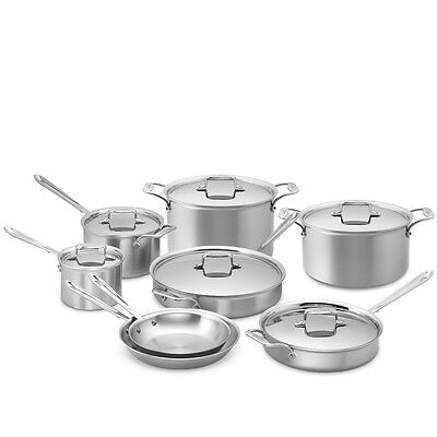 Brand New All-Clad D5 Top Of The Line 12 Of 14 Pc Brushed Stainless Cookware Set