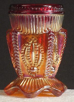 St. Clair Red Carnival Glass Cactus Toothpick Holder
