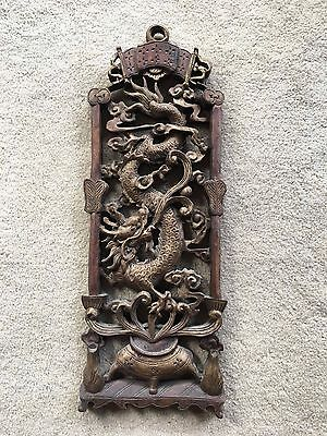 Beautiful Asian Antique Carved Wood Wall Decor Panel Plaque Featuring Dragon