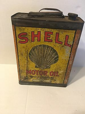 Vintage Shell Motor Oil Can 1 US Gallon 1/2 Full