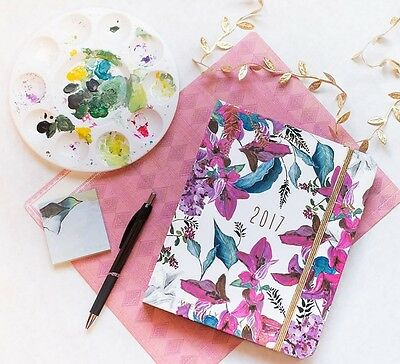 Pretty Papaya Art 2017 Bloom Floral Weekly Monthly Spiral Notebook Small Planner