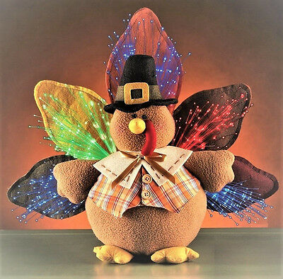 Lighted Stuffed Plush Thanksgiving Turkey Fiber Optic Autumn Holiday Centerpiece