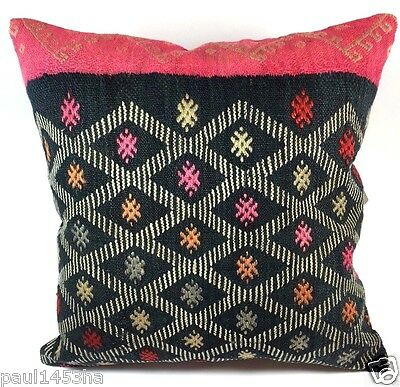 kilim rug, pink kilim pillow cover, kilim pillow 16 x 16, turkish kilim beauty
