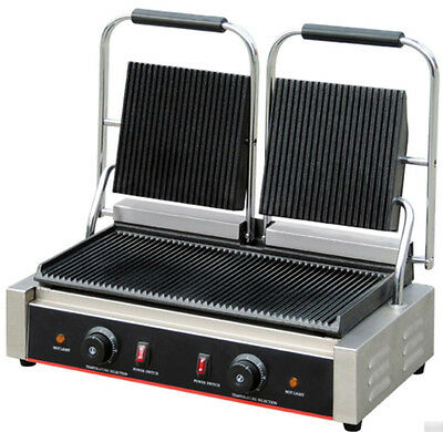 New Commercial Stainless Steel Countertop Double Panini Sandwich Grill Press