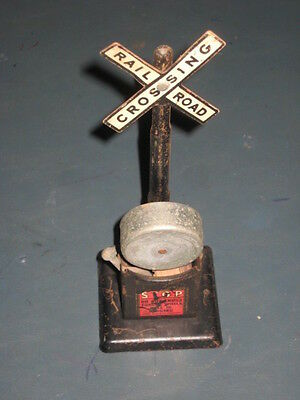 Vintage Marx  O Gauge Railway Crossing Sign With Warning Bell
