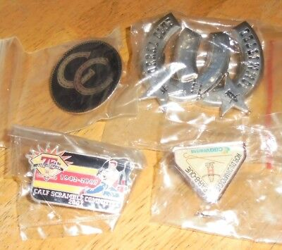 Texas Houston Livestock Show And Rodeo Metal Label Badge Hat Pin Lot 2005 2007