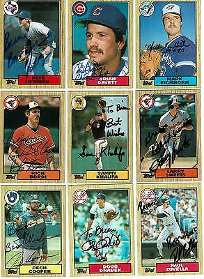 Lot of 9 Autographed Cards - 1987 Topps MLB - Various Teams & Players