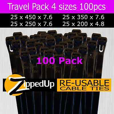 Reusable Cable Ties, Black, 100 piece Travel Pack, Multiple Sizes.