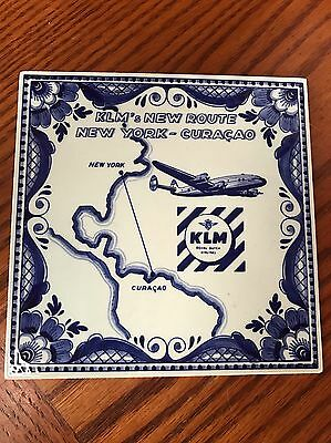 KLM Airlines BLUE DELFT TILE Dutch Handpainted New Route New York Curacao