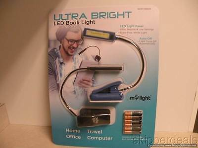 Ultra Bright Led Booklight 2 Pk W/ 6 Aaa Batteries Slim Book Laptop Reading Lamp