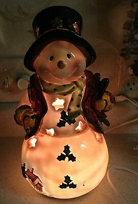 """Snowman Christmas Holiday Winter Home Decor Accent Night Light 12"""" Tall"""