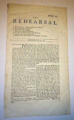 Antique English Newspaper The Rehearsal! Original Rights! Revolution! C.1706 UK
