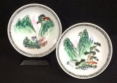 Pair of Japanese KUTANI porcelain Bowls Mountain Landscape Scenes
