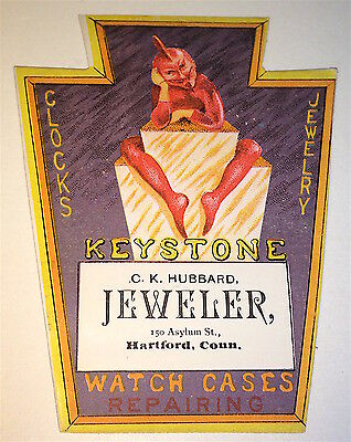 Antique Victorian American Red Devil! Jeweler Advertising Trade Card Hartford CT